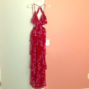 Long ruffle fuchsia dress
